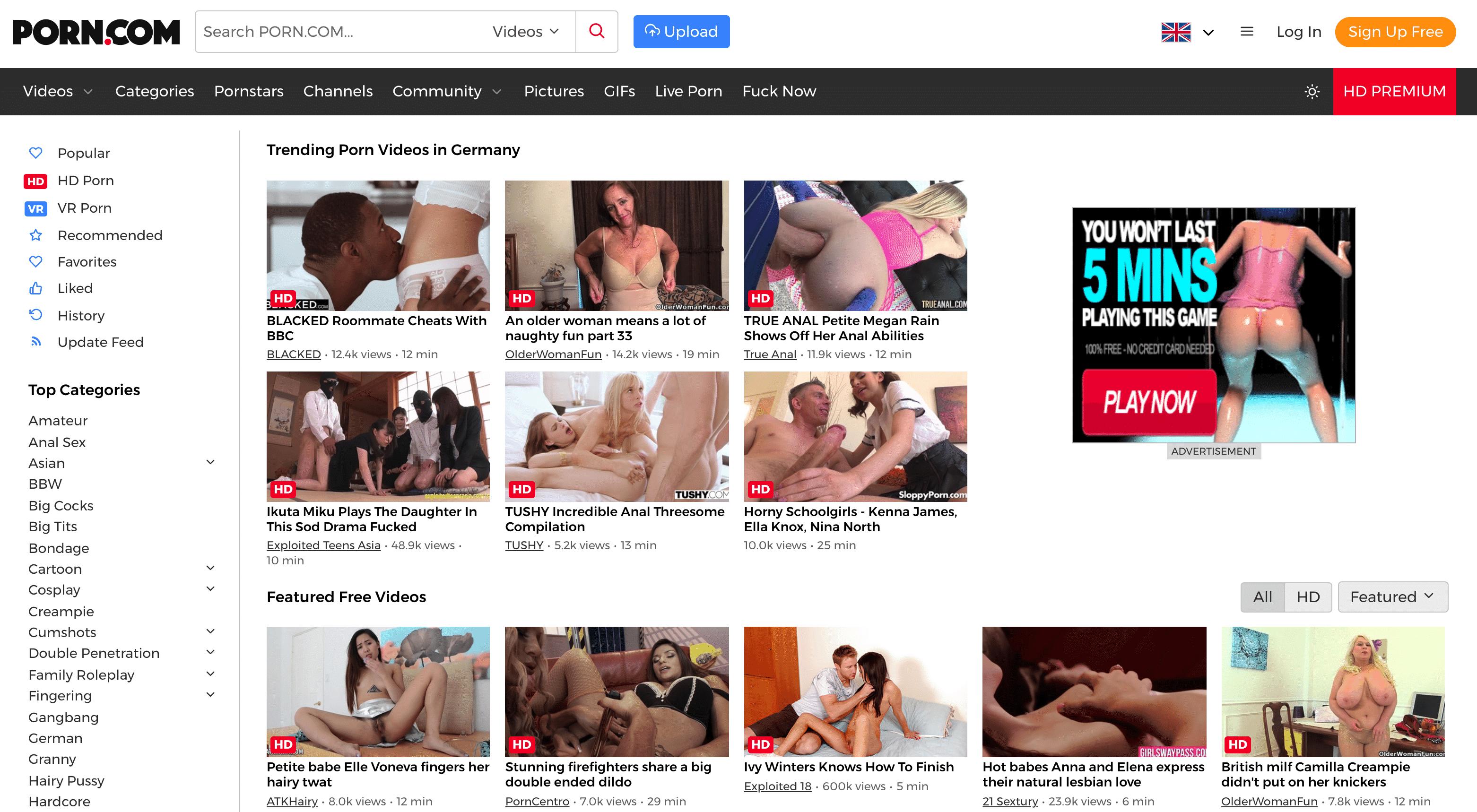 Die kostenlose Pornoseite Porn.com verrät schon durch die Domain was dich erwartet: Pornos!